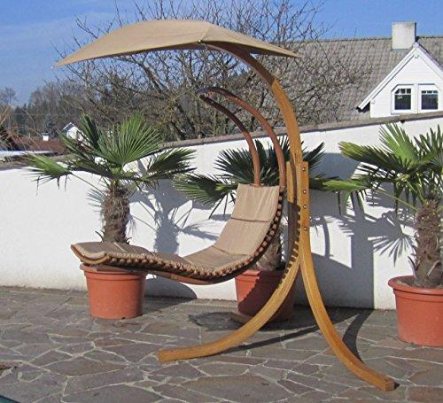 DESIGN Hängeliege NAVASSA mit Gestell aus Holz Lärche komplett mit Hängeliege und Dach von AS-S, Farbe:Braun - 6