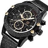 Herren-Armbanduhr, Chronograph, Quarz, wasserdicht, Business, Freizeit, Sport, Edelstahl-Mesh-Armband