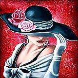 sunnymi 5D Malerei Diamant Schöne Frau die Einen Hut Trägt Modesymbol DIY Kreuzstich Kunstharz Dekoration Haus Wohnzimmer 30*30cm