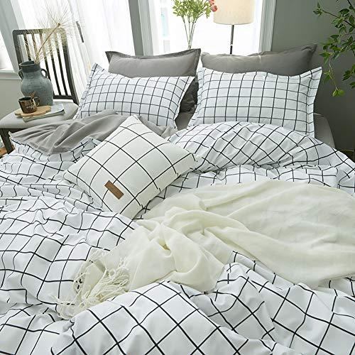 Bettwäsche-Set 4-teilig Baumwolle Reißverschluss Bett-Bezug Kissen-Bezug Bett-schwarz Weiß Einzel Twin Queen Size Für Jungen Kind Baby Bettbezug Set Baumwolle Tröster Bett Set Königin Full Size -