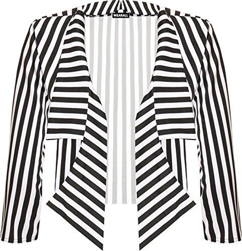 WearAll Damen Plus Freigestellte Wasserfall Blazer Damen Gestreift Druck Collared Geöffnet - Schwarz Weiß - 48-50
