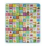 begorey begorey 2x1.8m Kinderzimmer Spielteppich Mädchen Junge Mehrfarbige Wasserdicht Spielmatte Baby Krabbelmatte Spieldecke (Type3 Alphabet und Bauernhof)