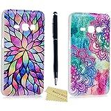 2x Samsung Galaxy J1 2016 Funda Transparente Dura Plástico PC Case - Mavis's Diary® Funda para móvil Carcasa Resistente a los Arañazos Color de Totem flor,pétalo