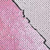 SCHÖNER LEBEN. Paillettenstoff Streichpailletten-Stoff Farbwechsel-Stoff rosa Off-weiß schimmernd 1,4m Breite