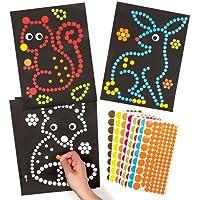 Baker Ross Kit de Illustrations à Pois Animaux de la forêt (Lot de 8) - Loisirs créatifs pour Enfants