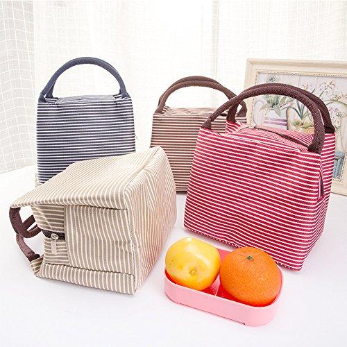 Striped lunch Bags Mejoy lovely picnic Bags lunch box sacchetti con cerniera e manico freddo isolamento termico Grey White Red Stripes