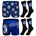 Chelsea FC Official Football Gift Set Mens Dress Socks Boxer Shorts