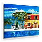Mia Morro Mediterran Toskana Bild A280, 1 Teil 80x80cm Leinwand auf Holzrahmen aufgespannt, FineArt Print, UV-stabil und wasserfest, Kunstdruck für Büro oder Wohnzimmer, Deko Bild