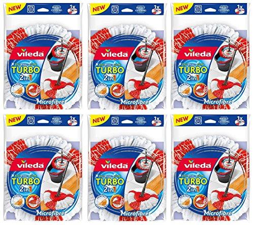 6er SET VILEDA TURBO 2in1 EasyWring & Clean ERSATZKÖPFE 6x ERSATZKOPF !!TOP PREIS !!