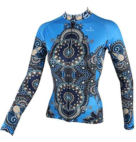 BININBOX® Damen Radtrikot Radsportbekleidung Fahrradbekleidung Langarm Shirt in Blau (Deutsche Gr.2XS/Hersteller Gr.S)