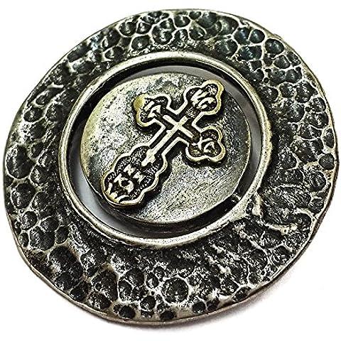 Rotación Cruz plata esterlina 925 con 9k oro colgante medalla Jerusalén 1