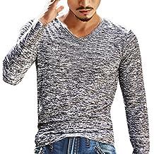 Naturazy-Camiseta Manga Larga De 2018 OtoñO para Hombre Moda Cuello Casual Deporte Delgado Camisa