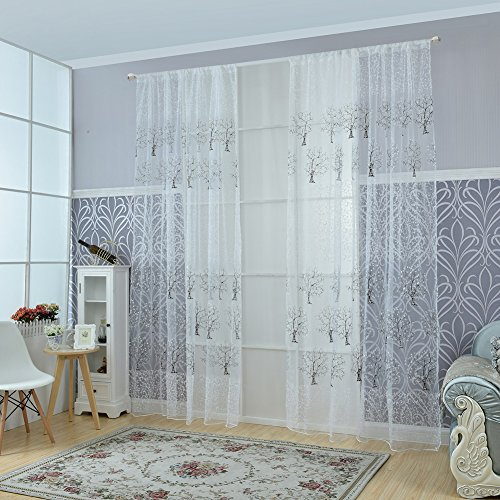 fastar cortinas salon modernas elegante rbol impresin translcido ventana cortinas para el hogar