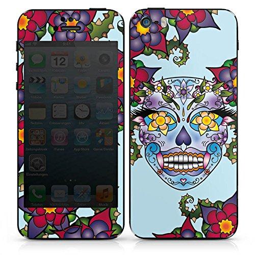 Apple iPhone 5 Case Skin Sticker aus Vinyl-Folie Aufkleber Blüten Totenkopf Blumen DesignSkins® glänzend
