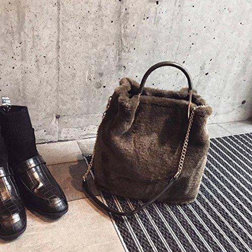 Tragbare Damen Kette Eimer Leder Pelz Tasche Schulter Messenger Bag , Grün