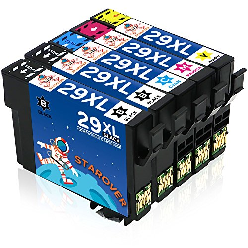STAROVER 5x 29XL 29XL Cartuchos De Tinta Compatible Para Epson Expression Home XP-235 XP-245 XP-247 XP-330 XP-332 XP-335 XP-342 XP-345 XP-430 XP-432 XP-435 XP-442 XP-445 (2 Negro + 1 Cian + 1 Magenta + 1 Amarillo)