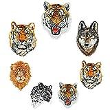 Parches bordados de tigre/lobo/leopardo/león DIY para planchar o coser animales parches para camiseta chaqueta vaqueros mochilas 7 pcs patches