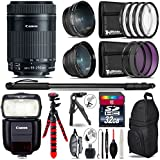 Canon 55-250mm Is STM Lens + Canon Speedlite 430EX III-RT Flash + 0.43X Wide Angle Lens + 2.2X Telephoto Lens + UV-CPL-FLD Filters + Macro Filter Kit - International Version