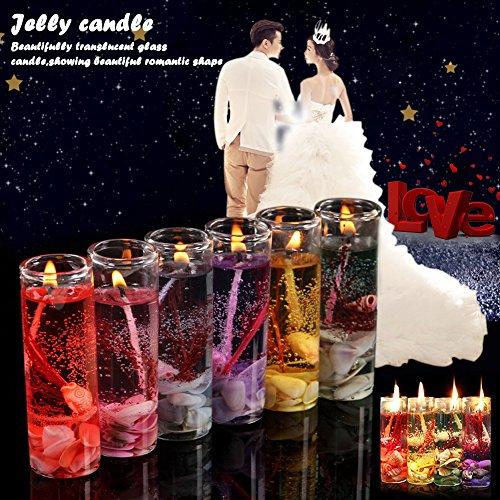 Romántico Jelly vela de cristal Océano Serie vela para fiesta de cumpleaños de la boda del día de San Valentín (color al azar), 6pcs, about 8.5 x 3cm/3.35 * 1.18in