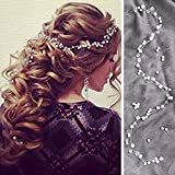 Chicer Wedding Crystal Hair Vine Bridal Headpieces Accessories for Bride and Bridesmaid(Silver)