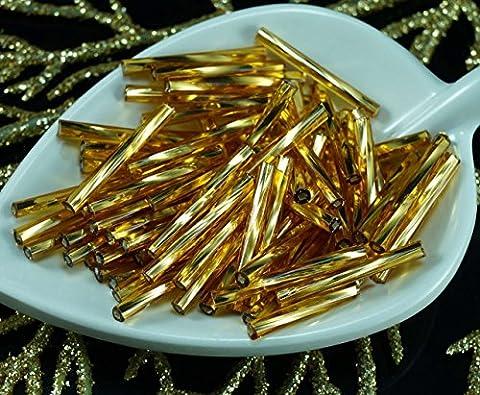 80pcs x 20mm Extra Lange Gold Silber Ausgekleidet Twisted Runde Tschechische Glas stiftperlen PRECIOSA Rohre