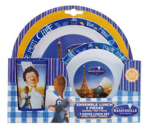 FUN HOUSE 005203 Ratatouille Ensemble de Repas pour Enfants - 3 pièces Polypropylène, Bleu, 26,5 x 7 x 25 cm