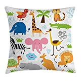 Free-shipping Animal Throw Pillow Cushion Cover, Cute Giraffe Elephant Zebra Turtle Kids Nursery Baby Themed Cartoon Comic Print, Decorative Square Accent Pillow Case,Multicolor 18X18 inches