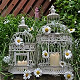 Set of 2 - Wedding Cardholder Table Centerpiece Shabby-Chic Hex White Bird Cage