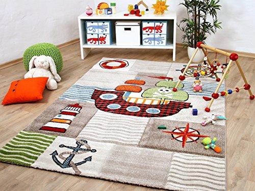Savona Kinder und Spiel Teppich Kids Piratenschiff Beige Bunt in 5 Größen