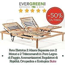 EvergreenWeb–Red matrimonio 165x 200motorizada eléctrica a láminas finas (madera de haya con 2sentado Separate reclinable + 2mandos + 2Motores, ortopédico con reguladores de dureza y amortiguación, ecológica 100% Made in Italy