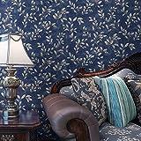 Poowef Wallpaper Amerikanische Retro- Reine Papiertapete, Wohnzimmer, Schlafzimmer-Fernsehhintergrund-Wand, Weinlese-Reben, Dunkelblaues.
