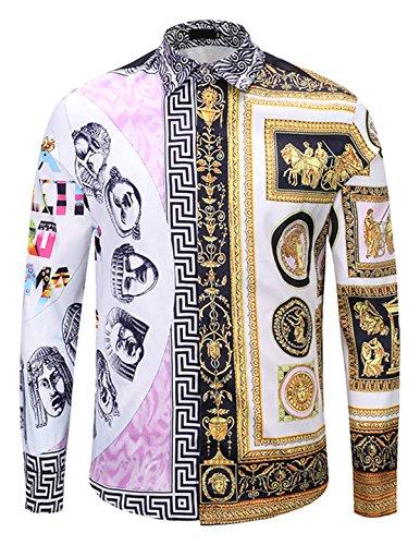 Pizoff Herren Luxus Langarm Hemden mit Baroque-Motiven,Y1792-c6,Medium
