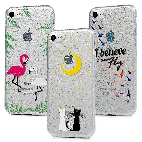 3x Cover iPhone 7 iPhone 8 Custodia Glitter Brillanti Morbida Silicone TPU Flessibile Gomma - MAXFE.CO Case Ultra Sottile Cassa Protettiva per iPhone 7 / iPhone 8 - Modello 3 Modello 2