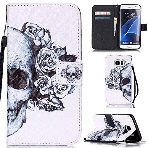 Ooboom® Samsung Galaxy S7 Edge Coque PU Cuir Flip Housse Étui Cover Case Wallet Stand avec Carte de Crédit Fentes Dragonne - Crâne
