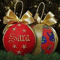 Crociedelizie, pallina di Natale con nome ricamato decorazione natalizia personalizzabile rosso e lurex oro dorato idea regalo