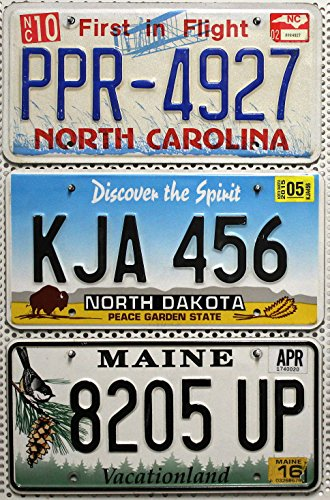 3er SET / LOT # US Staaten Nummernschilder NORTH CAROLINA + NORTH DAKOTA + MAINE Blechschilder # USA Autoschilder