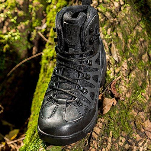 Free Soldier stivaletti tattico Mid High Rise scarpe da trekking invernali stivali in pelle, Uomo Black Leather