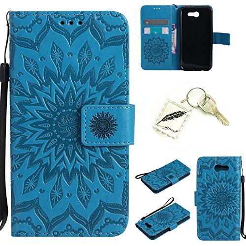 Preisvergleich Produktbild Silikonsoftshell PU Hülle für Samsung Galaxy J3 (2017) Tasche Schutz Hülle Case Cover Etui Strass Schutz schutzhülle Bumper Schale Silicone case+Exquisite key chain X1) #KC (1)