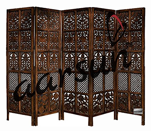 Aarsun Woods Floriferous 5 Panel Handcrafted Wooden Partition / Room Divider