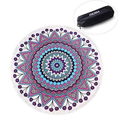 Zuoao Indien Mandala Serviette de Plage Ronde avec Franges Grande Taille Épaisse, Tapisserie de Plage Super Doux Microfibre avec Multi-Usages Hippie Tapis de Yoga Beach Violet