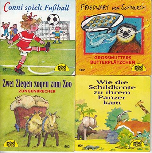 4 Pixi-Bücher Serie 106: Nr. 901 Conni spielt Fußball; 902 Friedwart von Schnorch Großmutters Butterplätzchen; 903 Zwei Ziegen zogen zum Zoo; 904 Wie die Schildkröte zu ihrem Panzer kam.
