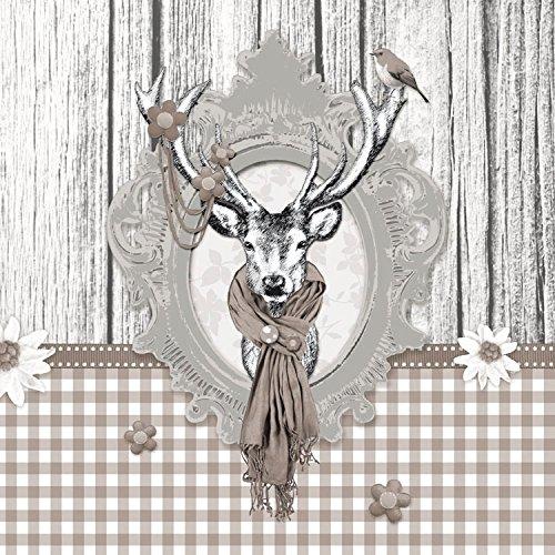 Ambiente Papierservietten - Servietten Lunch / Party / ca. 33x33cm Decorated Deer Taupe - Hirsch - Ideal Als Geschenk Und Tisch-Deko Hirsche Hirsche Hirsche