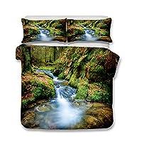 Stillshine Bedding Set Duvet Cover Pillowcase 100% Polyester Fiber Magic forest Bedding Set Concealed Zipper (Mountain river, 200 x 200 cm)