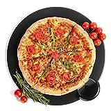 Kenley Pietra Refrattaria per Pizza da Forno Grill Barbecue - Teglia Piastra 38 cm in Cordierite con Tagliapizza - Pane e Pizza Cotta Uniformemente e Dalla Crosta Croccante