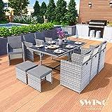 Swing & Harmonie Polyrattan Sitzgruppe Esstisch Lounge Sitzgarnitur Essgruppe Gartenmöbel Set (11-Teilig, Grau)