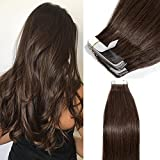 Extension Adhesive Cheveux Naturel 40 Pcs Bande Adhesive Extension Rajout Cheveux Humain - Remy Human Hair Tape In Hair Extensions (#4 MARRON CHOCOLAT, 35CM - 80g)