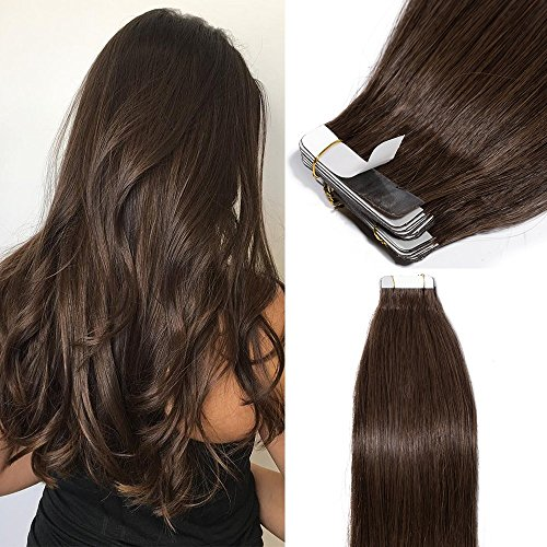 Voller Glanz 26-28 Lange Haar Band Extensions Einfarbig 50g 20 Pcs Band In Haar Extensions 100% Remy Menschenhaar Kleber Auf Haar Bequem Und Einfach Zu Tragen Haarverlängerung Und Perücken