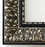 Bilderrahmen Ancona Schwarz Silber 7,5 - mit Passepartout in Weiß - 25 Größen - Außenmaß 30x45, Bildmaß 20x30 - Wechselrahmen mit Floatglas 2mm ( Normalglas) - Barock, Antik