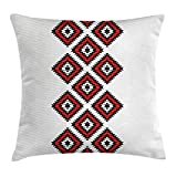 Kissenbezüge Country Throw Pillow Cushion Cover, Native American Style Zig Zag Aztec Motif with Embroidery Ornaments Image, Decorative Square Accent Pillow Case, 18 X 18 inches, Vermilion White