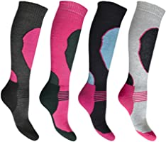 4 Pairs High Performance Ladies Ski Socks Long Hose Thermal Socks Size 4-7